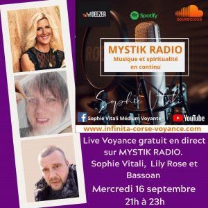Live voyance gratuit sur Mystik Radio / Sophie Vitali, LilY Rose et Bassoan de Infinità Corse Voyance