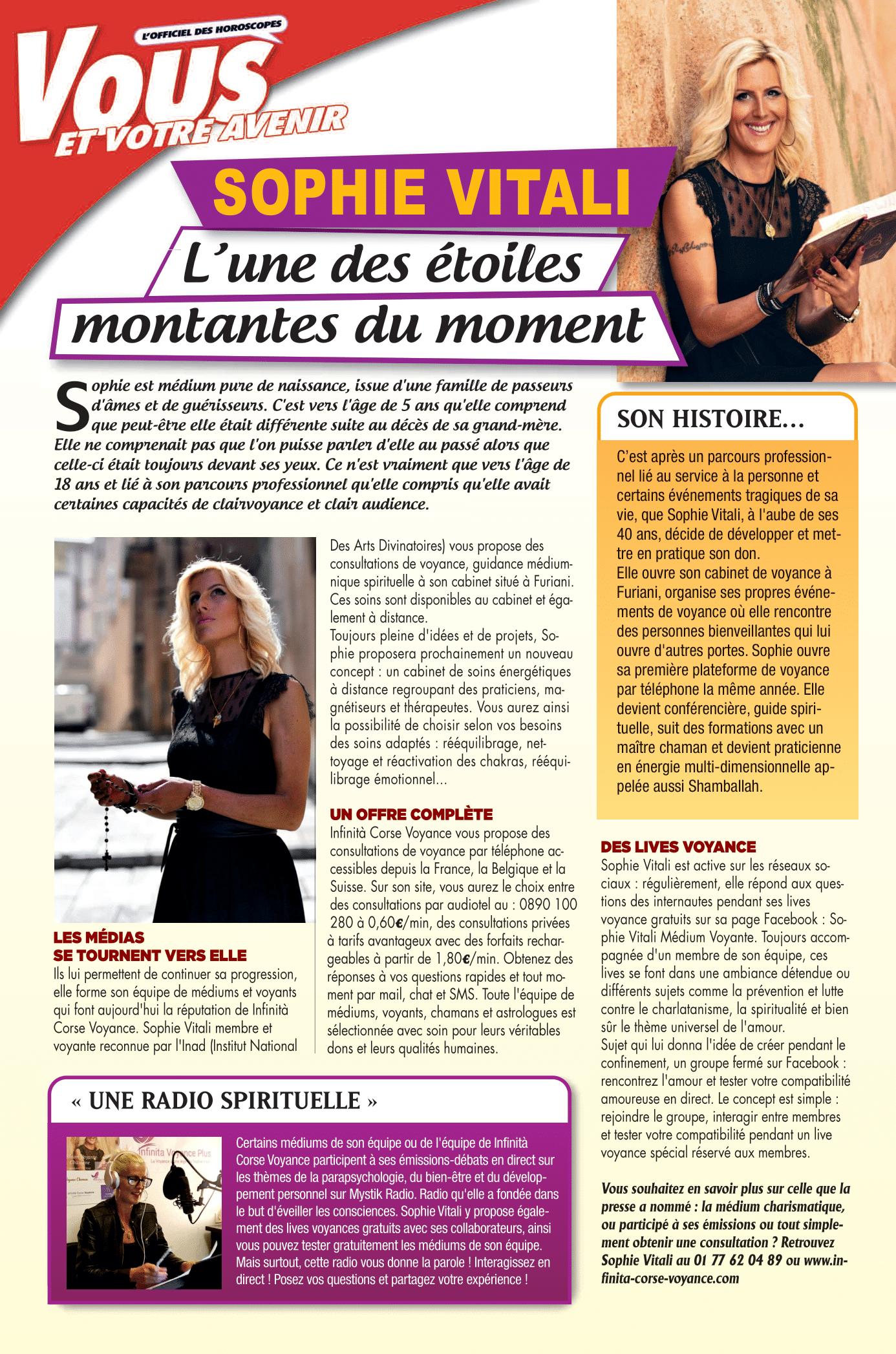 Sophie Vitali dans le magazine Vous et votre avenir Novembre 2020