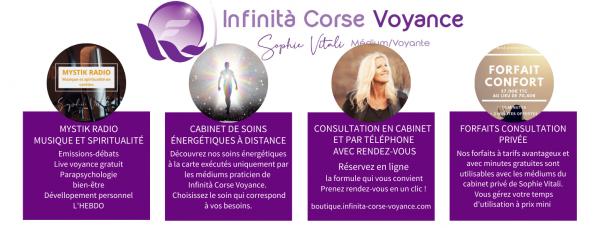 Le cabinet consultation privée par téléphone et soins à distance de Sophie Vitali / Infinità Corse Voyance