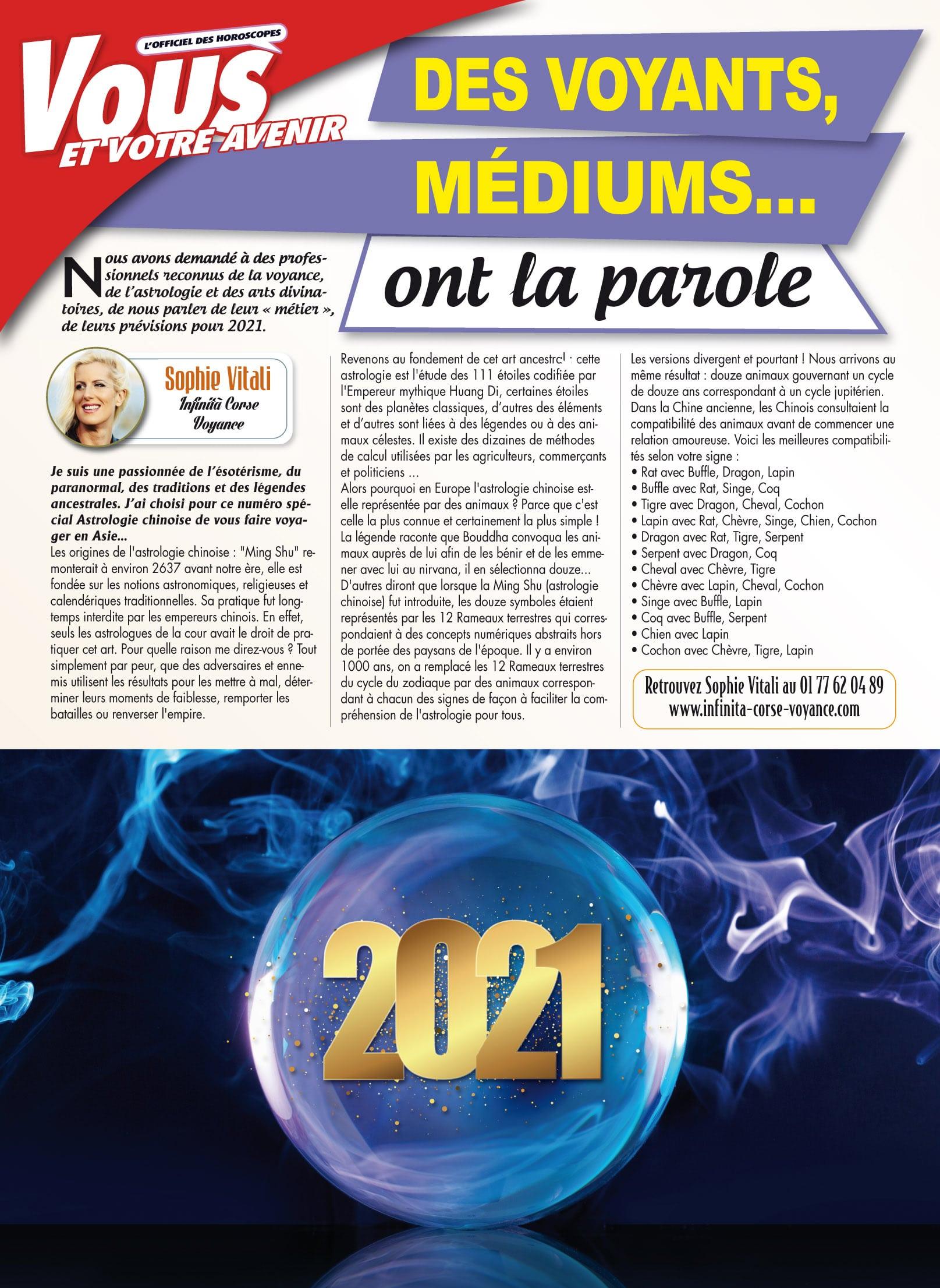 Sophie Vitali vous parle d'astrologie dans le dernier numéro du magazine Vous et votre avenir janvier 2021