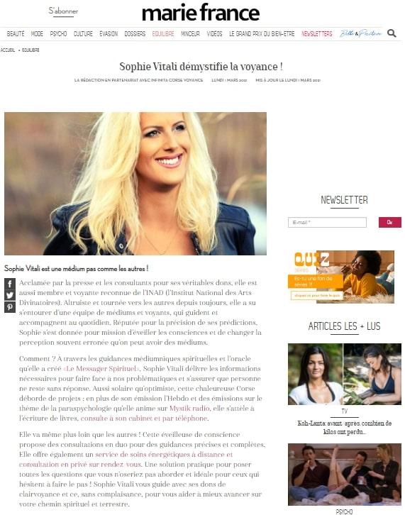 Sophie Vitali médium corse dans le magazine Marie France