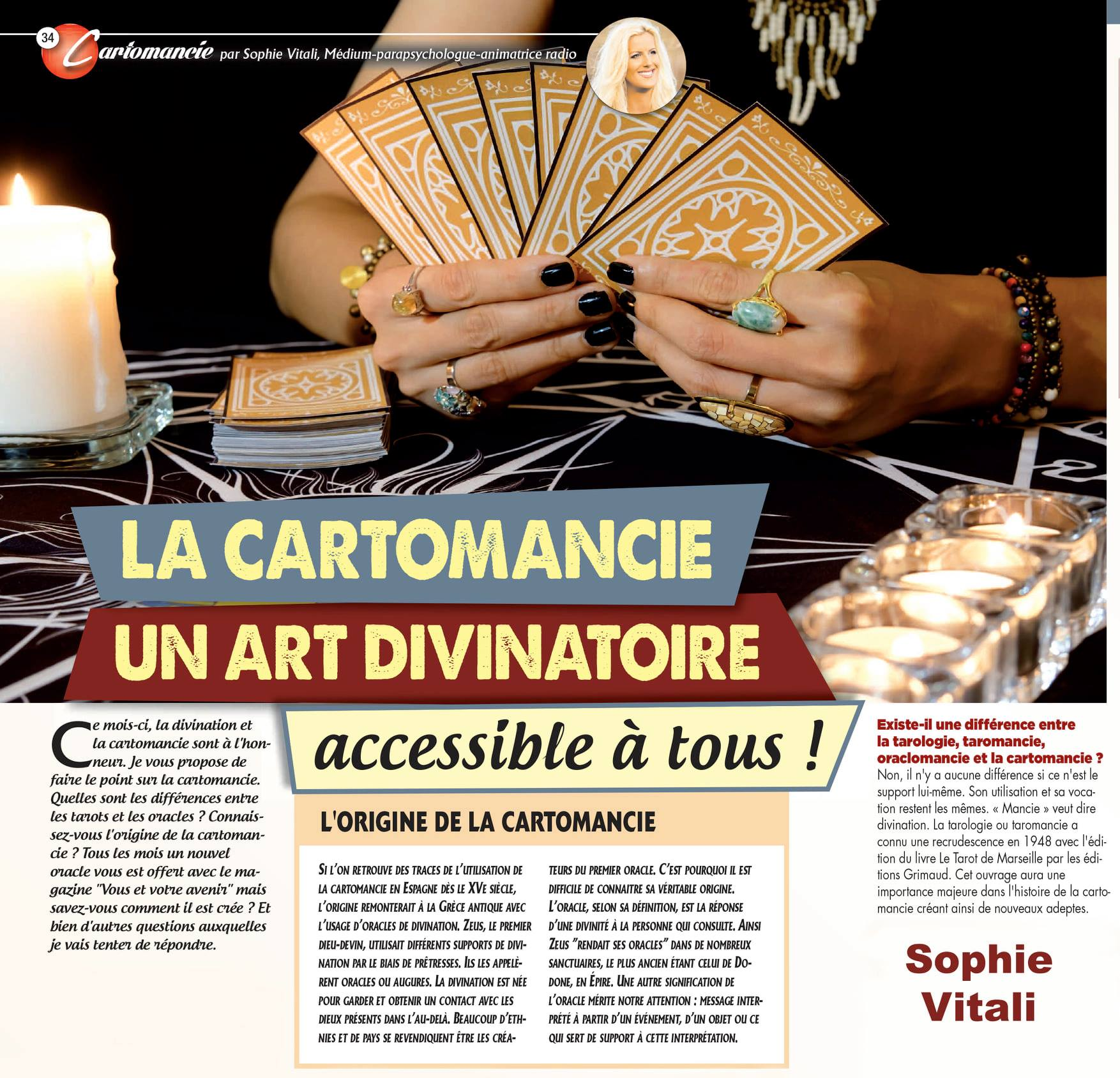 La cartomancie, un art divinatoire accessible à tous par Sophie Vitali médium