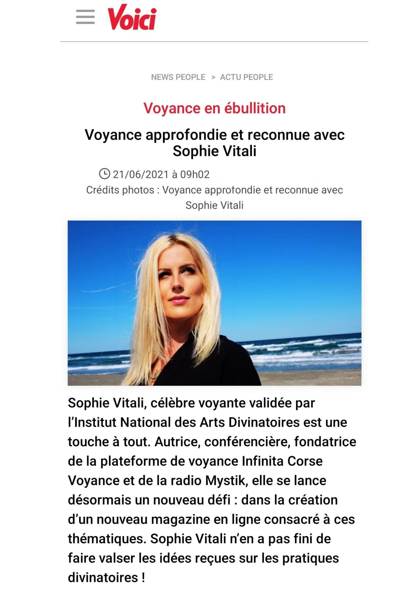 Sophie Vitali célèbre médium et voyante corse sur le site voici.fr