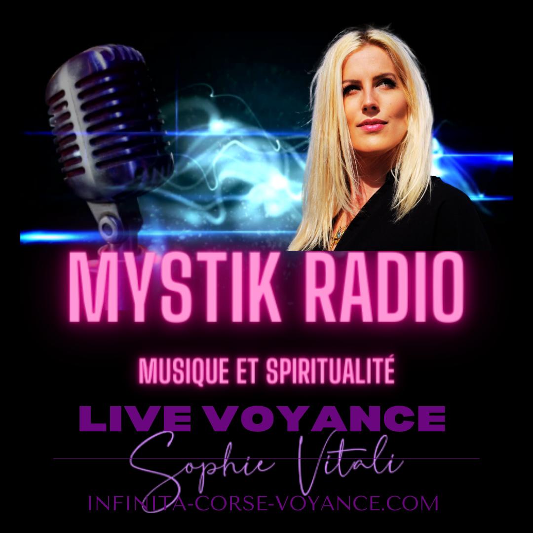 Mystik Radio : voyance gratuite, émissions sur le paranormal, la spiritualité et le développement personnel créée par Sophie Vitali célèbre médium et parapsychologue